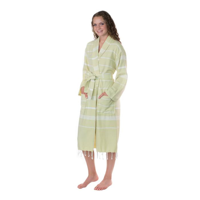 Lightweight Turkish Towel Striped Robe - Sage (S/M)