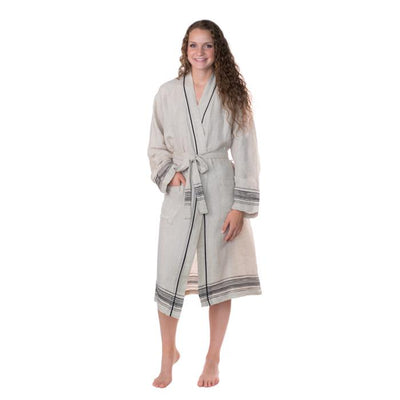 Luxury Turkish Linen Bathrobe - Natural with Black Trim