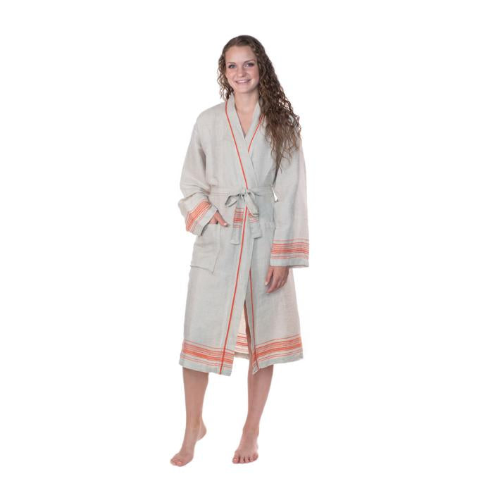 Luxury Turkish Linen Bathrobe - Natural with Orange trim