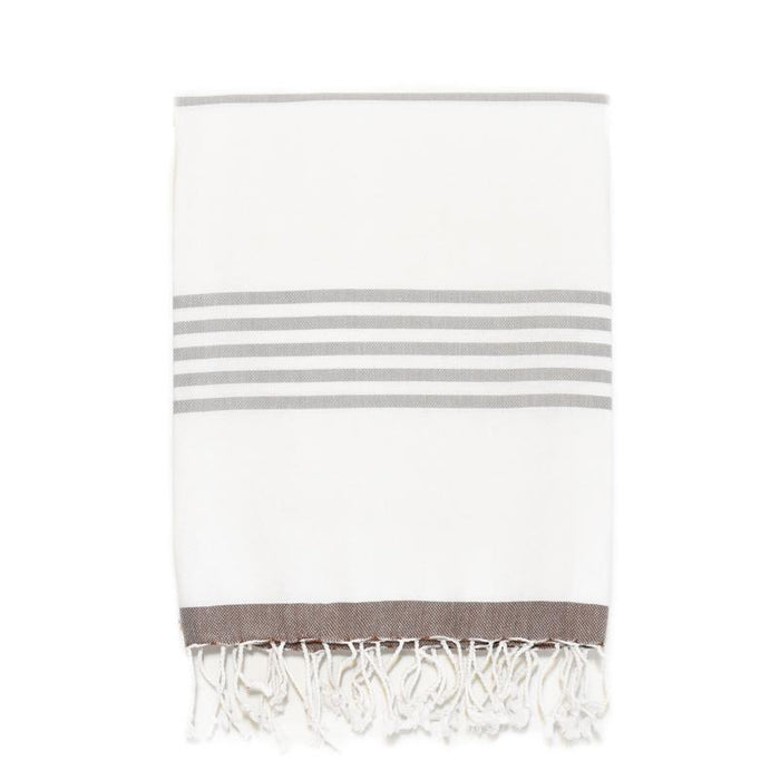 Nautical Turkish Towel - Coffee/Grey