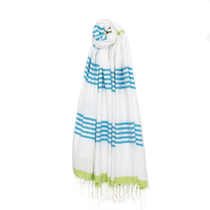 Nautical Turkish Towel - Turquoise/Lime