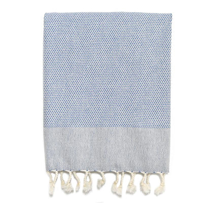 Pebble Weave Turkish Hand Towel - Denim
