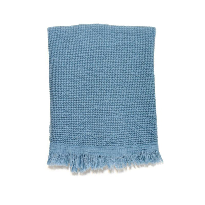 Puffy Waffle Weave Turkish Towel - Dusty Teal