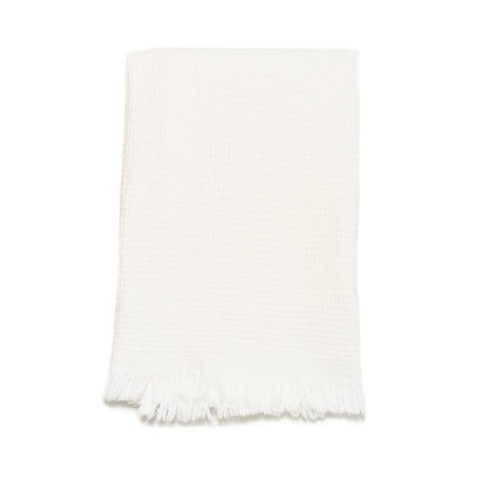 Puffy Waffle Weave Turkish Towel - Snowy White