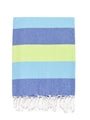 Rugby Striped Turkish Bath Towel - Turquoise/Blue/Lime