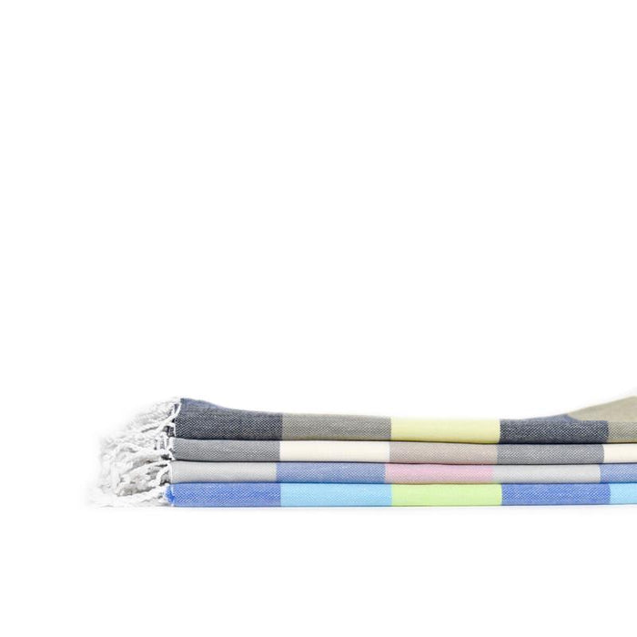 Rugby Striped Turkish Bath Towel - Navy/Brown/Chartreuse