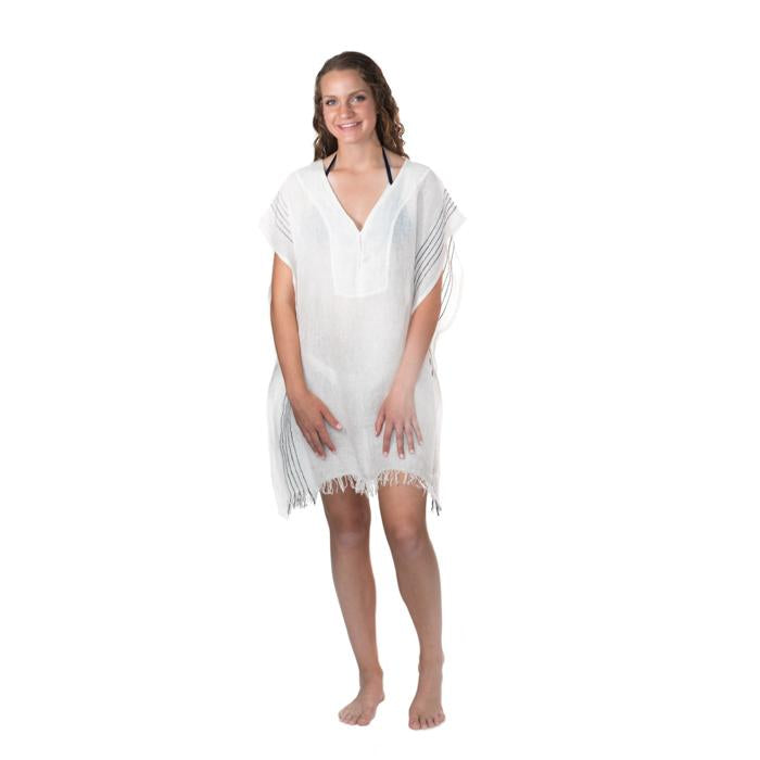 Simple Linen Cover-up from Turkey - Cream with Black