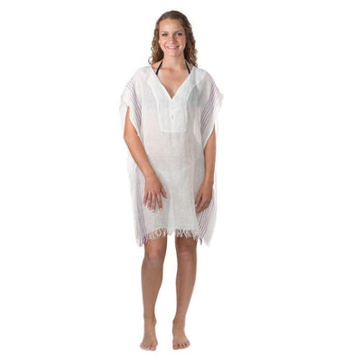 Simple Linen Cover-up from Turkey - Cream with Purple
