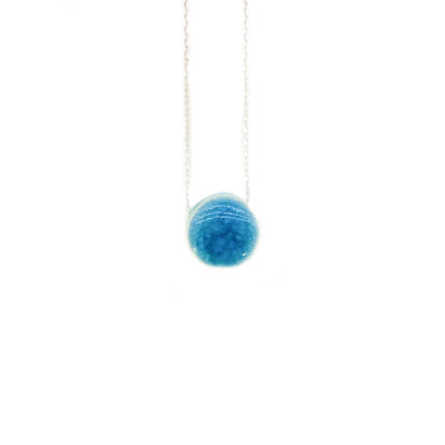 Stoneware Blue Circle Necklace from Turkey