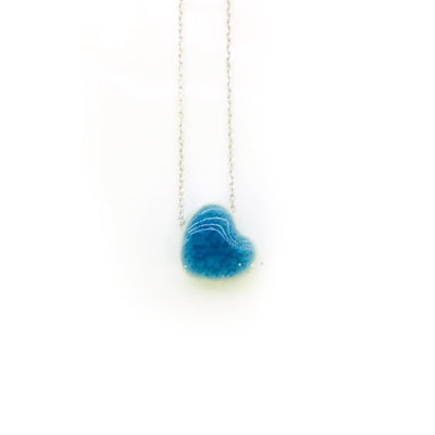 Stoneware Blue Heart Necklace from Turkey