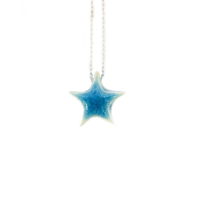 Stoneware Blue Star Necklace from Turkey