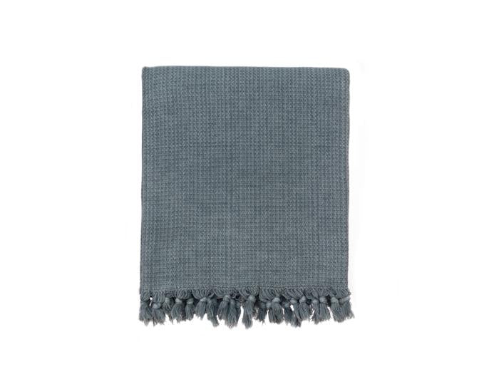 Stonewashed Chainstitch Turkish Throw - Medium Grey