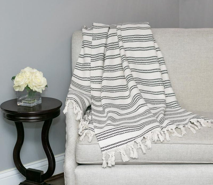 Striped Woven Turkish Throw - Cream with Black
