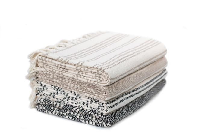 Striped Woven Turkish Throw - Beige with Cream