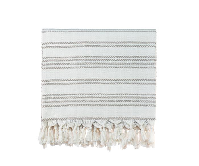 Striped Woven Turkish Throw - Cream with Beige