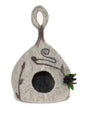 Fancy Gourd Cat Cave from Nepal - Medium Heather Grey