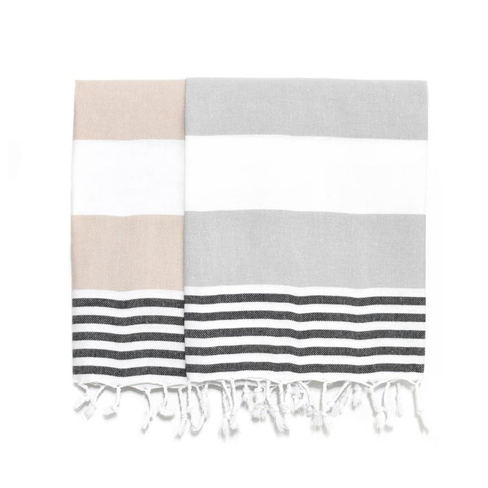 Pajama Striped Turkish Hand Towel - Beige and Black