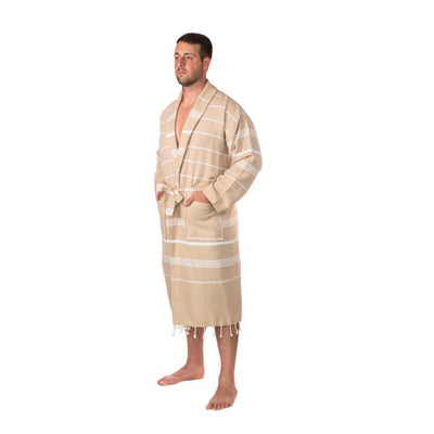 Traditional Turkish Towel Striped Robe - Camel (L/XL)