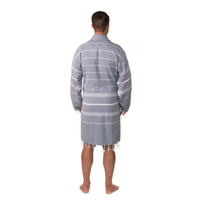 Traditional Turkish Towel Striped Robe - Grey (L/XL)