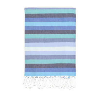 7 Color Striped Turkish Bath Towel - Blues