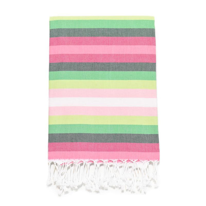 7 Color Striped Turkish Bath Towel - Pinks/Greens
