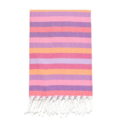 7 Color Striped Turkish Bath Towel - Pinks/Purples