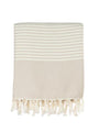 Varied Stripe Turkish Throw - Beige and Cream