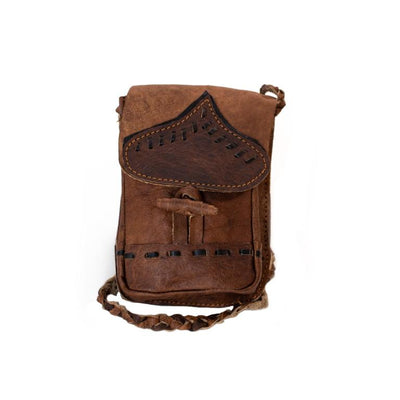 Water Buffalo Leather Cellphone Bag - Black Stitch