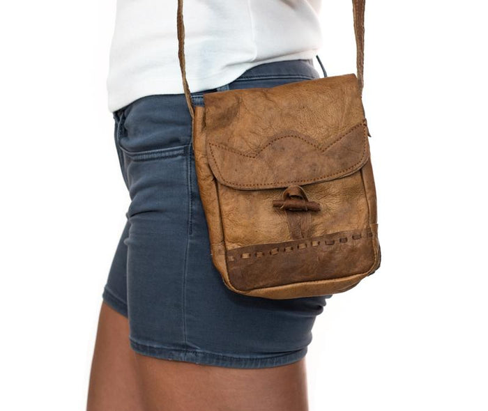 Water Buffalo Leather Mini Bag - Brown