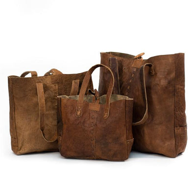 Water Buffalo Leather Shopping Bag Trio