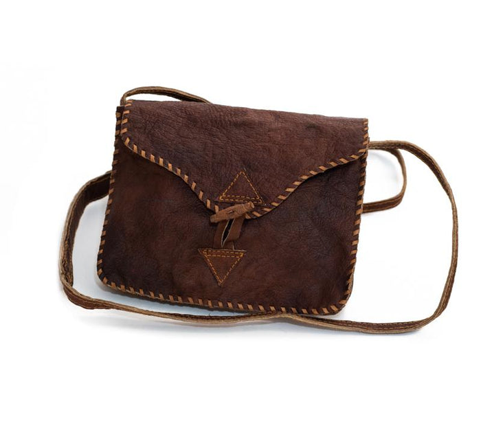 Water Buffalo Leather Small Bag - Brown Stitch