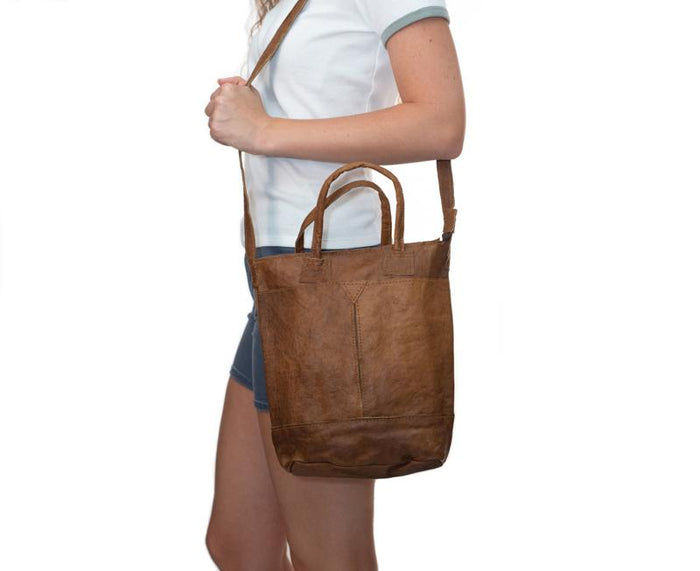 Water Buffalo Leather Tall Purse