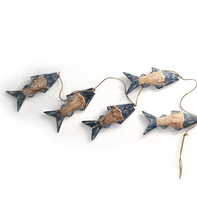 Weathered Natural and Blue Funky Fish Mobile from Turkey