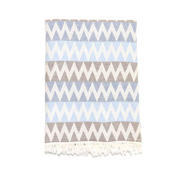 Zig Zag Double Layer Turkish Towel - Brown/Denim/Blue