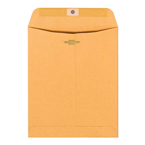 "Office Depot Brand Clasp Envelopes, 9"" x 12"", Brown, Box of 100"