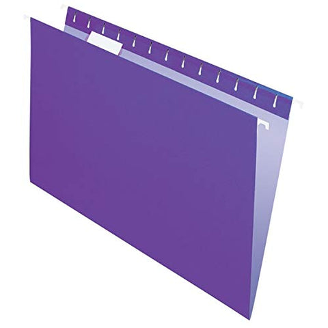 Office Depot 2-Tone Hanging File Folders, 1/5 Cut, 8 1/2in. x 14in, Legal Size, Purple, Box of 25, OD81631