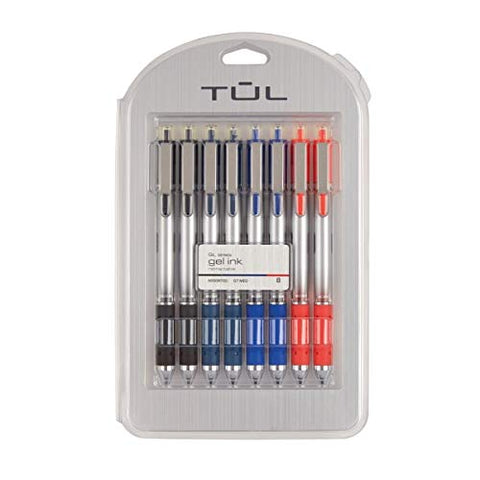 TUL Retractable Gel Pens, Bullet Point, 0.7 mm, Gray Barrel, Assorted Standard Ink Colors, Pack of 8