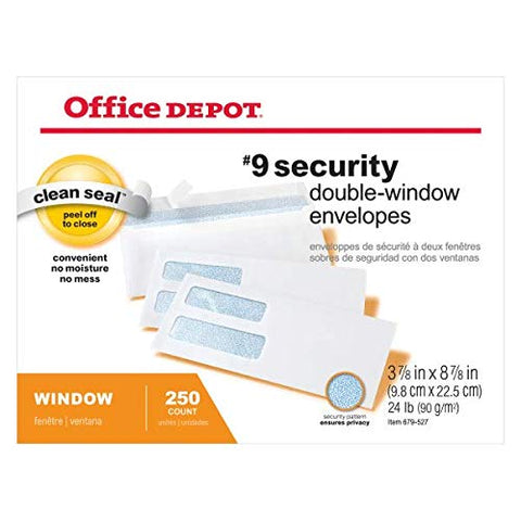 Office Depot Double-Window Envelopes, 9 (3 7/8in. x 8 7/8in.), White, Clean Seal(TM), Box of 250, 77166