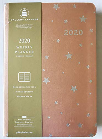 2020 Gallery Leather Metallic Rose Gold Leather Standard Weekly Desk Planner Made in USA