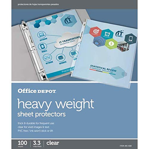 Office Depot Heavyweight Sheet Protectors, 8 1/2in. x 11in, Clear, Pack of 100, OD491658