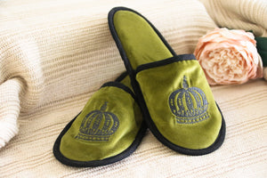Crown Velvet Slippers