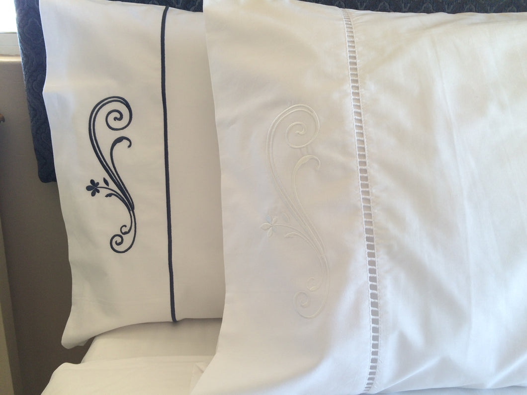 Elegant Scroll Satin Stitch Pillowcases