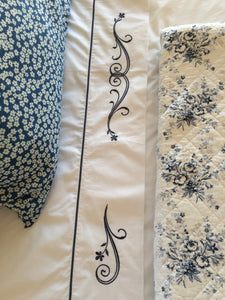 Elegant Scroll Satin Stitch Flat Sheet