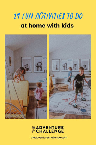 Collage of photos of kids enjoying and playing games in their living room
