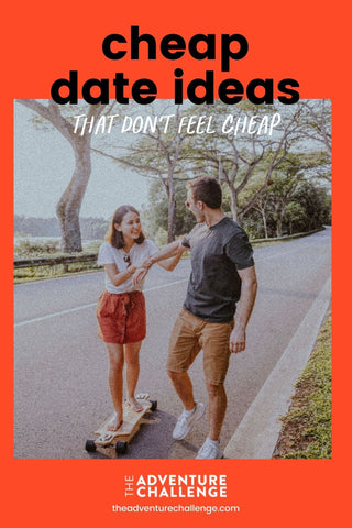 Couple smiles as the boyfriend teaches his girlfriend how to skate during their date; image overlaid with text that reads  Cheap Date Ideas That Don't Feel Cheap