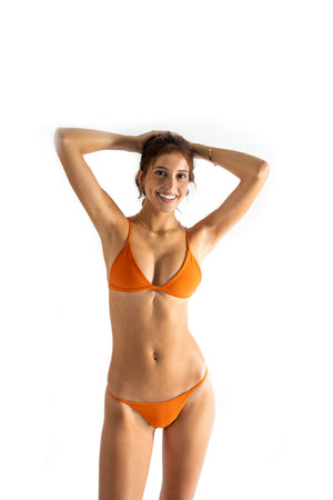 orange Cheeky bikini bottom made with Italian sustainable fabric