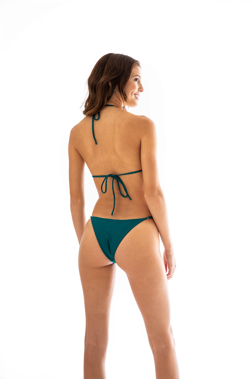 cheeky blue bikini bottom with ring detail on hip