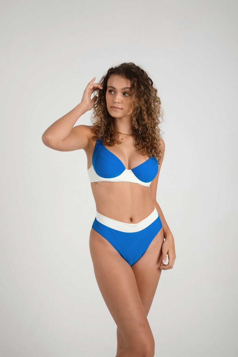 Key West High Waist Bottom -Royal/Marshmallow
