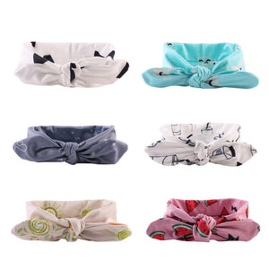 6 Pack Girls Adjustable Knotted Head Band