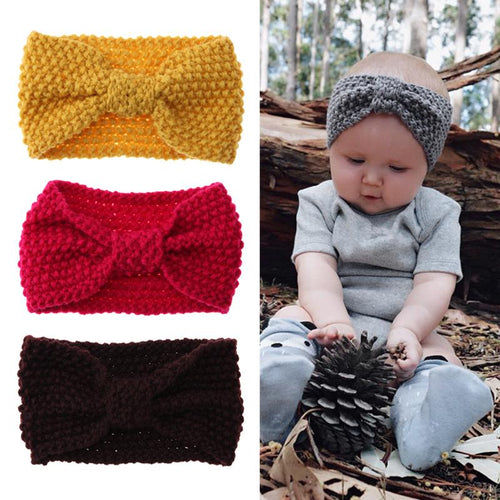 Autumn Knitted Stretch Bow Headband